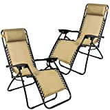 BestETCshop 2PCS Beach Patio Pool Yard Folding Lounge Chair Gravity Outdoor MADE IN USA (Beach Tan)