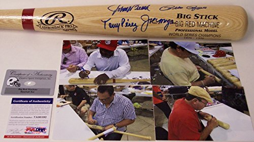 Big Red Machine Hand Signed - Big Red Machine Cincinnati Reds - Johnny Bench, Pete Rose, Joe Morgan & Tony Perez Autographed Hand Signed Rawlings Adirondack Pro Baseball Bat - PSA/DNA