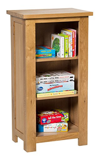 Waverly Oak Small Bookcase in Light Oak Finish | 3 Shelf Storage Low Bookshelf | Solid Wooden Bookshelves Unit
