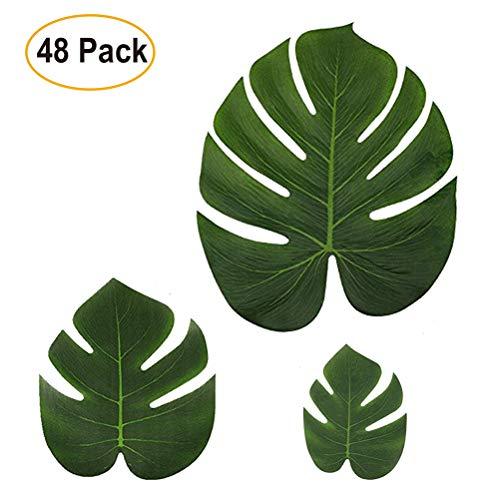 Pack of 48 Tropical Palm Leaves   Leaf Imitation Decorations for Beach, Jungle, Luau or Safari-Themed Birthday, Wedding or BBQ Parties   Artificial Silk Fabric   3 Different Sizes ()