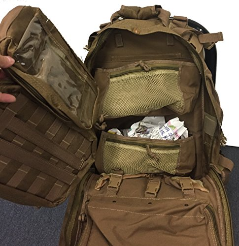 EXPLORER First aid Survival Kit Emergency Kit Earthquake Survival S.T.O.M.P Trauma Bag Car Home Work Office Boat Camping Hiking Elite Travel Stomp All-Purpose not Blackhawk (Brown Tan CT) - Force Green Putting Air