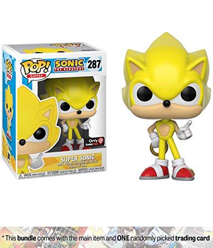 Super Sonic (GameStop Exclusive): Funko POP! Games x Sonic the Hedgehog Vinyl Figure + 1 Video Games Themed Trading Card Bundle [#287] (Cat Super Pop)