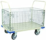 Wesco 270461 Steel Wire Caged Platform Truck, Rubber Wheels, 1,100-lb. Load Capacity, 40'' Handle Height, 48'' x 30''