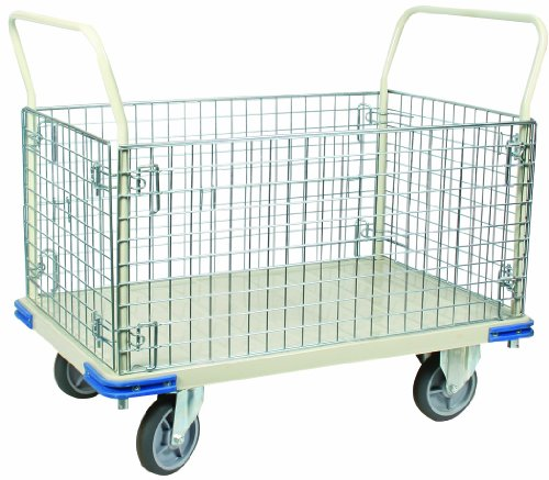 Wesco 270461 Steel Wire Caged Platform Truck, Rubber Wheels, 1,100-lb. Load Capacity, 40'' Handle Height, 48'' x 30'' by Wesco