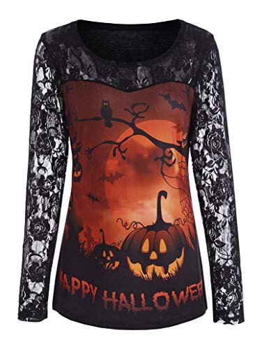 iNewbetter Halloween Costumes for Women Lace Long Sleeve Tunic Shirts Pumpkin Print Blouses Halloween Tops IB101 257 Orange 2