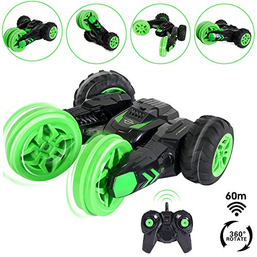 - SGILE RC Remote Control Stunt Car, Birthday Gift Present Toy for Kids, Racing Vehicle Rechargeable with Bright LED Lights Stand Up and Rotate at 360 Degree, Green