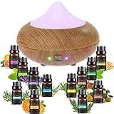 Sonolife - Humidificador y Difusor de Aroma con Kit de 12 Piezas de Aceites Esenciales, Ultrasónico de 210 ml. con Luz LED