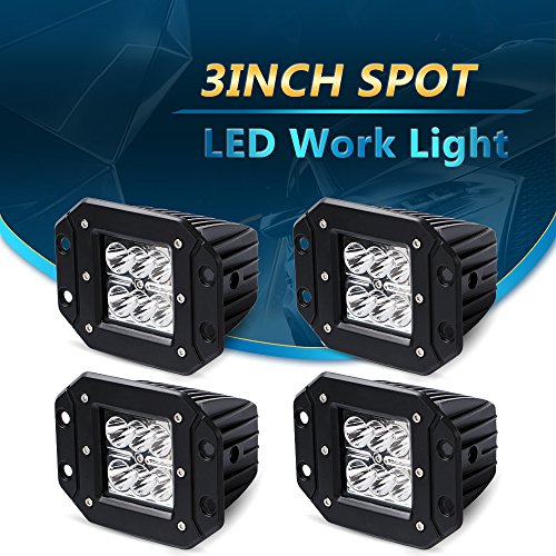 4pcs 3×3 Inch 18W Spot LED Work Light Bar Flush Mount Offroad Pods Cube Driving backup Fog Lights 4wd LED Driving Lamp Work Light Bulb for Truck Pickup Jeep SUV ATV UTV Boat Ford GMC Toyota