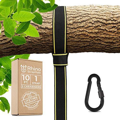 Rhino Rope Toy - Tree Swing Strap Hanging Kit – 10ft Strap, Holds 2800 lbs (SGS Certified), Fast & Easy Way to Hang Any Swing – Outdoor Swing Hangers