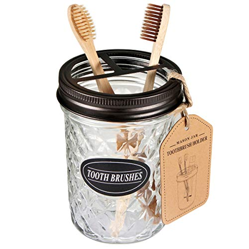 Amolliar Mason Jar Toothbrush Holder,Bronze