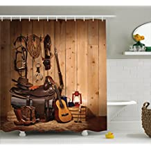 Western Decor Shower Curtain by Ambesonne, American Texas Style Country Music Guitar Cowboy Boots USA Folk Culture, Fabric Bathroom Decor Set with Hooks, 84 Inches Extra Long, Cream and Brown