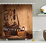 Western Bathroom Decor Western Decor Shower Curtain by Ambesonne, American Texas Style Country Music Guitar Cowboy Boots USA Folk Culture, Fabric Bathroom Decor Set with Hooks, 70 Inches, Sand Brown Chocolate