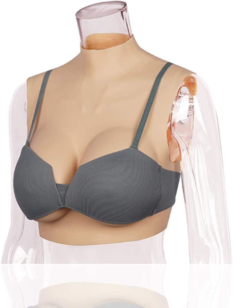YIQI Silicone Breast Forms Round Collar for Crossdressers Cosplay Transgender with Touch Soft Bra Pads Breast Enhancers
