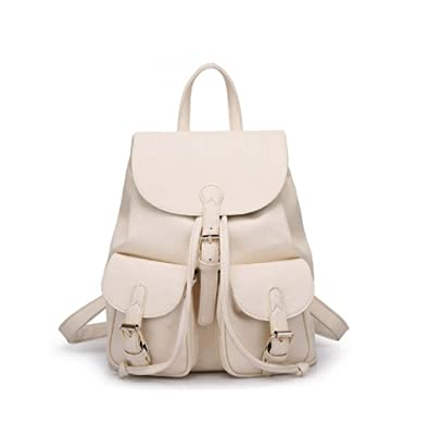 Santwo Women Soft Leather Lovely Backpack Cute Schoolbag Shoulder Bag (White)
