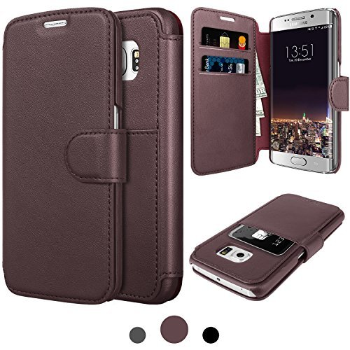 Samsung Galaxy S 6 Edge/S6 Edge Leather Wallet Case with Cards Slot and Metal Magnetic, Slim Fit and Heavy Duty, TAKEN Plastic Flip Case / Cover with Rubber Edge, for Women, Men, Boys, Girls (Coffee) by Taken