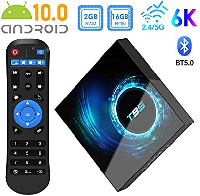 2020 Novedad] TV Box Android 10.0, Sidiwen T95 Allwinner H616 Quad-core 2GB RAM 16GB ROM Mali-G31 MP2 GPU 6K 3D BT5.0 2.4 / 5.0GHz Dual WiFi Ethernet DLNA HDMI Smart TV Box: