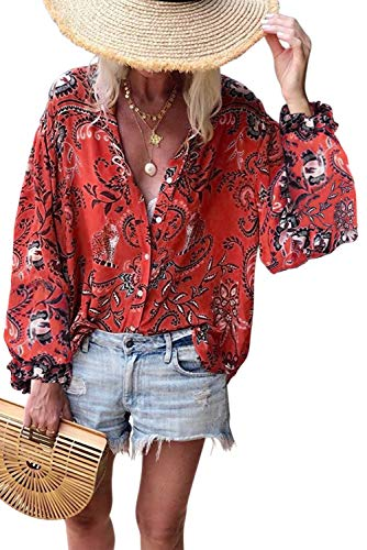 Asvivid Womens Summer Floral Printed Button Down Tops V Neck Long Sleeve Chiffon Blouses Holiday T-Shirt S Red