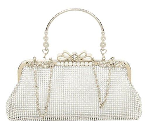 Plata Para Material Mano Cartera Mujer Girly De Handbags Sintético w8H64fq
