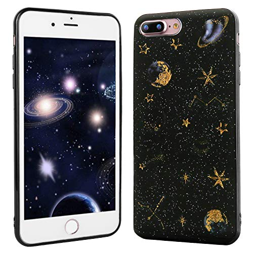 Beatuiphone Case Compatible iPhone 7 Plus/iPhone 8 Plus Case Clear Starry Sky Soft Rubber Gel Sparkle Protective Bumper Shock Drop Proof Shell Cover for Women Girls (Black-B, iPhone 7 Plus / 8 Plus)