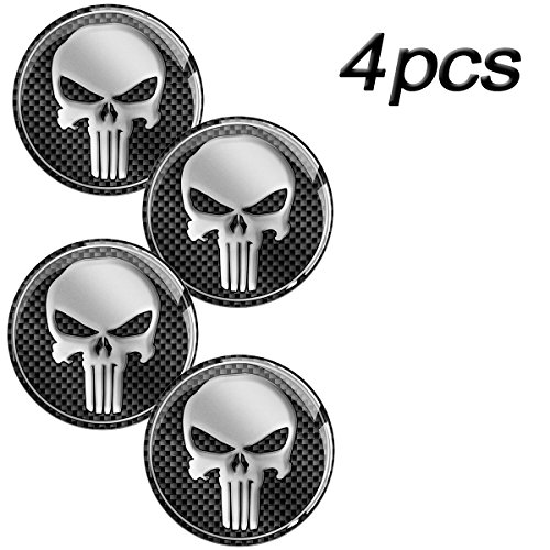 Skino 4 x 3D Gel Silicone Stickers for Rims Wheel Center Centre Hub Caps Auto Tuning PUNISHER SKULL ZOMBIE A 13 (Diameter- 68mm - 2.68