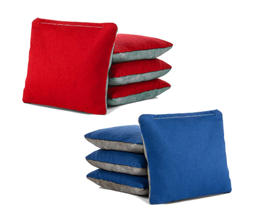 Tailgating Pros Pro-Style Two-Sided Cornhole Bags Slick & Stick Resin Filled Suede and Duck Canvas Set of 8-20+ Color Combos - (Red/Grey Suede & Royal/Grey Suede) by Tailgating Pros