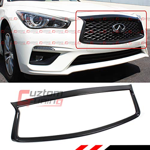 - Fits for 2018-2019 Infiniti Q50 Premium Carbon Fiber Front Grill Grille Outline Trim Cover Overlay