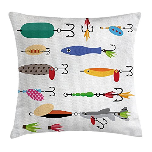 best bags Fishing Decor Throw Pillow Cushion Cover, Elements of Fishing Line with Stringer Net Bite Indicators Worms Waders Image, Decorative Square Accent Pillow Case, 18X18 Inches, Multi (Light Special Wader)