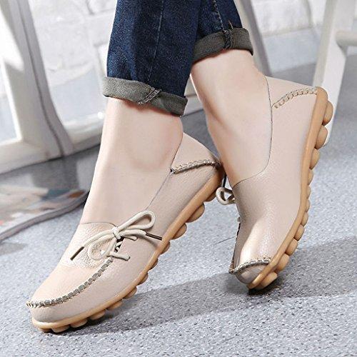 Ularma Zapatos de cuero de mujer, suave ocio pisos mocasines casuales mujer Beige