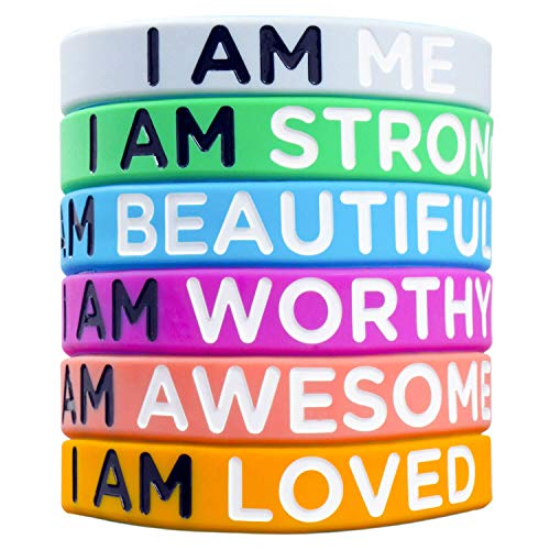Sainstone Inspirational Bracelets with 6 Debossed Different Motivational Sayings - I AM ME, I AM Strong, I AM Beautiful - 6 Colors for Mens Women, and Teens Sports Fan Wristbands Gifts (Unisex) (Gifts Fans For Sports)