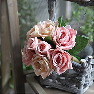CQURE Artificial Fake Flowers Silk Artificial Roses 9 Heads Bridal Wedding Bouquet for Home Garden Party Wedding Decoration (Pink Champagne) …