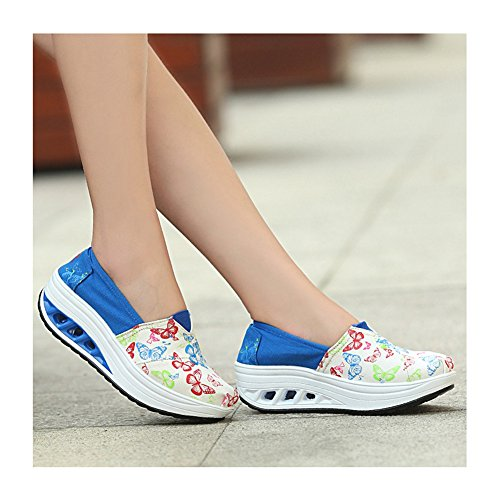 Sneakers Moda Donna Tela Casual Good Life Traspirante Leggero Scarpe Da Ginnastica Atletiche Di Btrada Blu