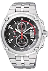 Citizen AN3450-84E Men's Stainless Steel Black Dial Chronograph Sports Watch