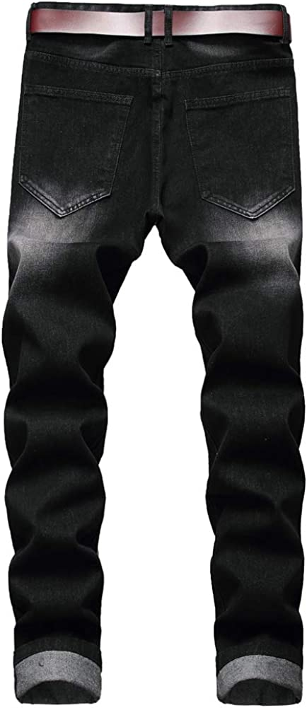LZLER Mens Ripped Jeans,Distressed Destroyed Slim Fit Straight Leg Denim Pant with Holes Black tbp9K