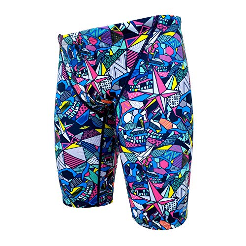 Flow Funky Swim Jammers - Jammer Swimming Shorts in Boys Size 24 to 30 with Eight Radical Swimsuit Designs to Choose from (Glow Skulls, 26 (25
