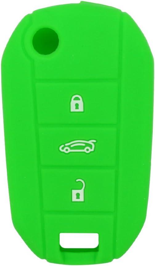 BROVACS Carcasa Protectora de Silicona para Peugeot Citroen con 3 Botones y Mando a Distancia Fobbv4300