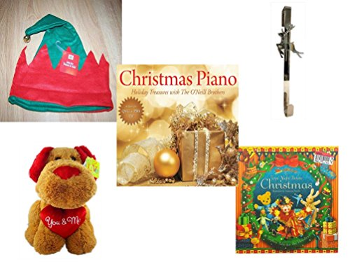 Christmas Fun For Everyone Gift Bundle [5 Piece] - Christmas Elf Hat w/ Jingle Bell - Silver Reindeer Over The Door Wreath Hanger - Christmas Piano Holiday Treasures with The O'Neill Brothers CD - Love is…You & Me Plush Dog 13