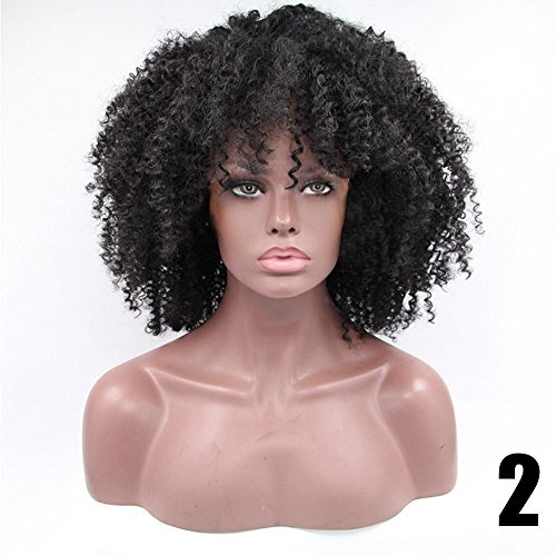Short women wig Hair Afro Kinky Curly Clip In Human Hair Extensions (Black) by BleuMoo