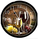 wine and grape kitchen clock - Glow In the Dark Wall Clock - Wine Glasses & Grapes #4