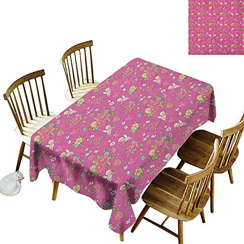 kangkaishi Easy to Care for Leakproof and Durable Long tablecloths Outdoor Picnic Flora Nosegay Beauty Wedding Bouquet with Shooting Cupid Romantic Print W52 x L70 Inch Fuchsia Pink Dark Coral