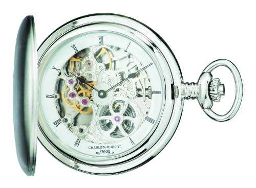 Charles-Hubert, Paris 3905-W Premium Collection Stainless Steel Polished Finish Hunter Case Mechanical Pocket Watch by Charles-Hubert, Paris