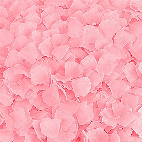 BESKIT 3000 Pieces Silk Rose Petals Artificial Flower Petals for Wedding Confetti Flower Girl Bridal Shower Hotel Home Party Valentine Day Flower Decoration (Pink) ()