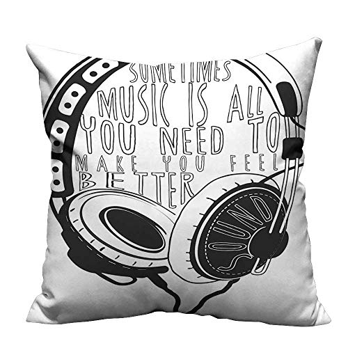 (YouXianHome Sofa Waist Cushion Cover Headphones Industrial Design Sketch with Quote Audio Sound Stereo Scribble Black White Decorative for Kids Adults(Double-Sided Printing) 31.5x31.5 inch)