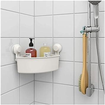 Ikea Asia Tisken Eckregal Mit Saugnapf Weiss Amazon De Baumarkt