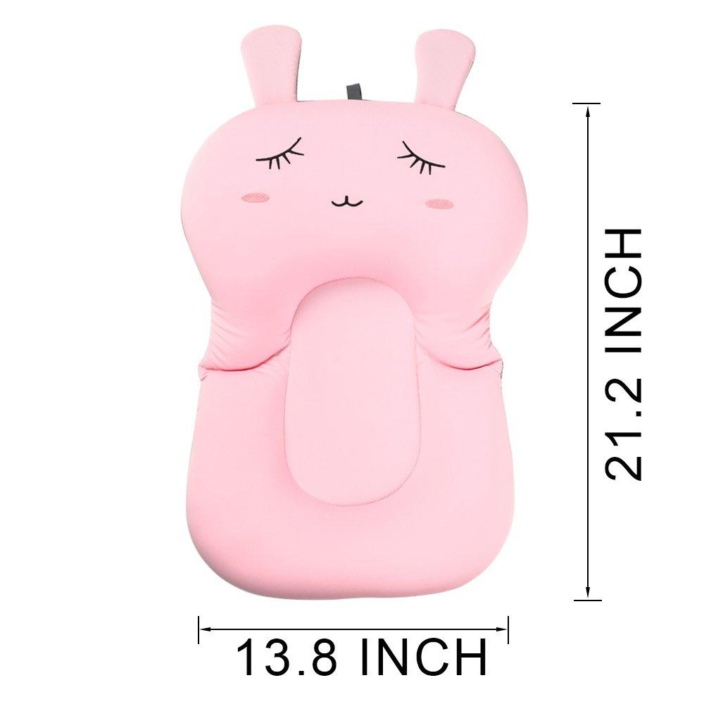asiento de coj/ín antideslizante para reci/én nacido almohadilla de esponja flotante para tina de beb/é rosa, conejo Coj/ín de ba/ño para beb/é de UNAOIWN