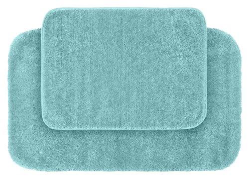 Garland Rug 2-Piece Traditional Nylon Washable Bathroom Rug Set, Seafoam (6 Piece Bathroom Rug Set)