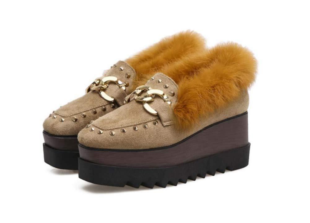 C Las Mujeres De La Bomba Mocasines Gruesos De Fondo Mollete Zapatos 7Cm Cuña Talón 4Cm Plataforma Zapatos De Felpa Cuadrados De La Cadena De Pie Casual ...