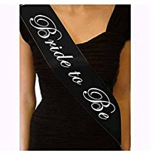 NUANNUAN 6 Pack Bridal Sashes 'Bride to Be' for Bachelorette Party Wedding (Black)