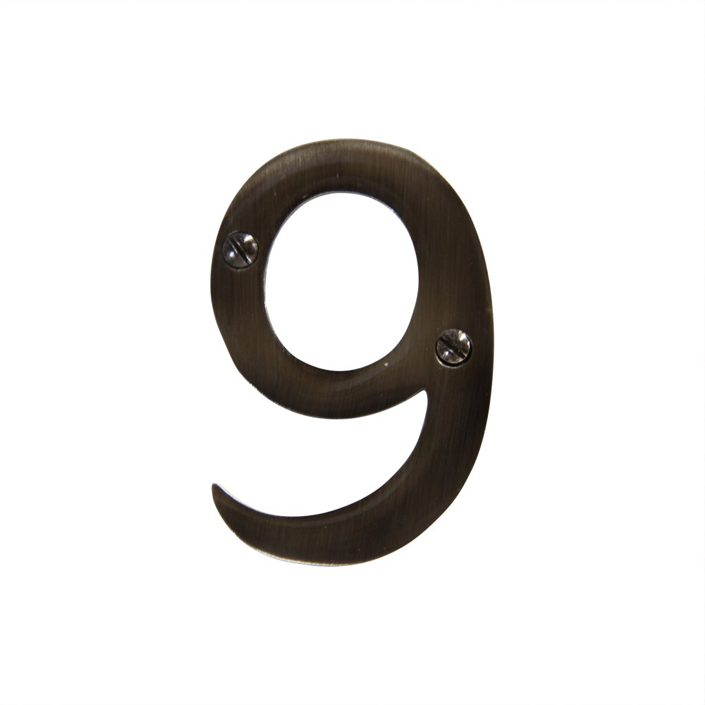 75mm RCH Hardware 2279AN075 Decorative 3 3 Inch Tall, 9 Antique Nickel Finish Brass House Number Numeral
