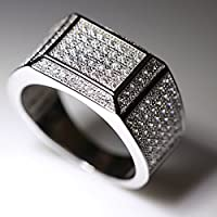 Wassana 18K White Gold Iced Out BAND HipHop Engagement MICROPAVE AAA CZ Pinky Mens Ring (10)