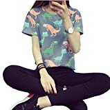 Women Summer Japanese Harajuku Animal Dinosaur Printing T-shirt, Grey, Large